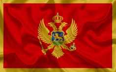 Download wallpapers Flag of Montenegro, Europe, red flag, coat of arms, Montenegro