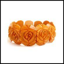 Vintage Bakelite Carved Roses Stretch Bracelet