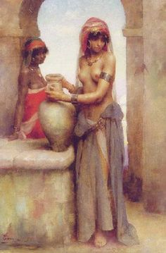 At the Well by the French painter Adrien Henri Tanoux (1865-1923)