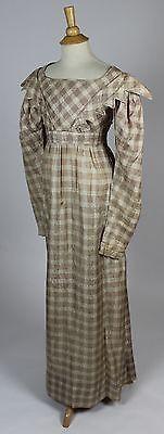 Cream and Dusty Pink Plaid Damask Silk Dress c. 1820