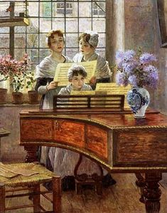 Around the Piano, by Walter Firle (German, Piano Y Violin, Piano Art, Charles Edward, William Arthur, Piano Lessons For Beginners, Woman Singing, Playing Piano, Pierre Auguste Renoir, Music Pictures