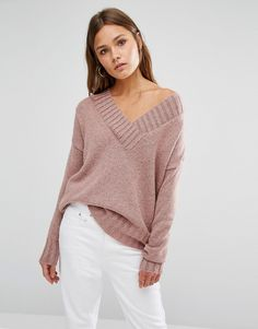 Image 1 of New Look Pink Knitted Oversized V Neck Jumper at Asos