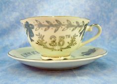 Lefton 25th Anniversary Cup and Saucer- Excellent Condition by RichardsRarityRealm on Etsy