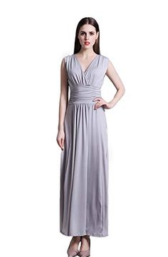 80e951c025 Wicky LS Women s V Neck Ruched Maxi Dress Floor Length Evening Dresses  Review Plus Size Prom