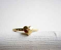 14K Yellow Gold Faceted Heart Ring, so so pretty!