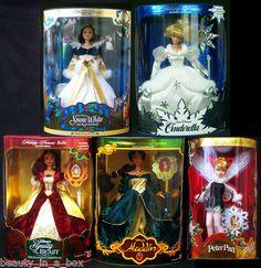 Tinkerbelle, Belle, Snow White, Cinderella, and Jasmine Holiday Princess Disney Barbie Dolls