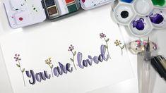 Watercolor brush lettering minimalist art