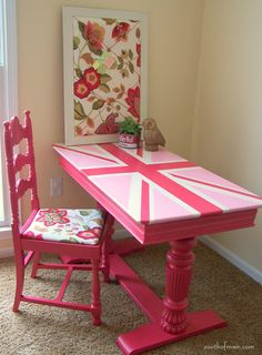 The desk could be painted in the Union Jack - You know I'm loving this so much!! It's bubble gum pink one of my favorite shades of my favorite color! - Heather Scott