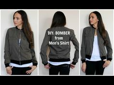 DIY: Refashion a Men's shirt into a women's Bomber Jacket