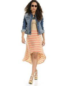 Striped Hi-Low T-Shirt Dress - $13.50 - Trendy Cheap - Casual ...