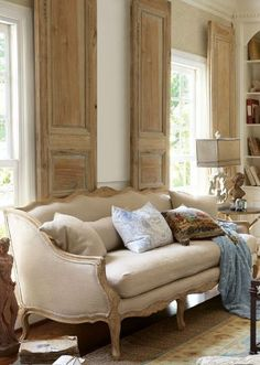 Love the interior shutters Belle Bergere Sofa from Soft Surroundings Beige Living Rooms, Living Room Decor, Dining Room, Dining Table, French Decor, French Country Decorating, Easy Home Decor, Cheap Home Decor, French Sofa