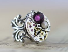 Steampunk - Mothers Ring Unique Mom Birthstone Ring Mothers Day Gift Statement Ring Custom Made Mothers Jewelry Personalized Unique Ring by inspiredbyelizabeth Mother Jewelry, Mother Rings, Personalized Jewelry, Custom Jewelry, Unique Jewelry, Steampunk Rings, Purple Rings, Ring Watch, Silver Prices