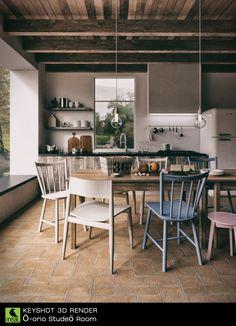 Kitchen interior rendered in KeyShot 6 by Boyd MeeJi.