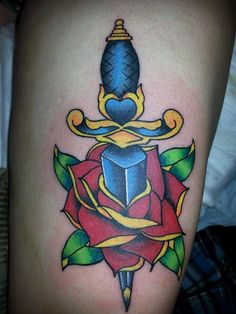 old school, rose, dagger, color, traditional, tattoo