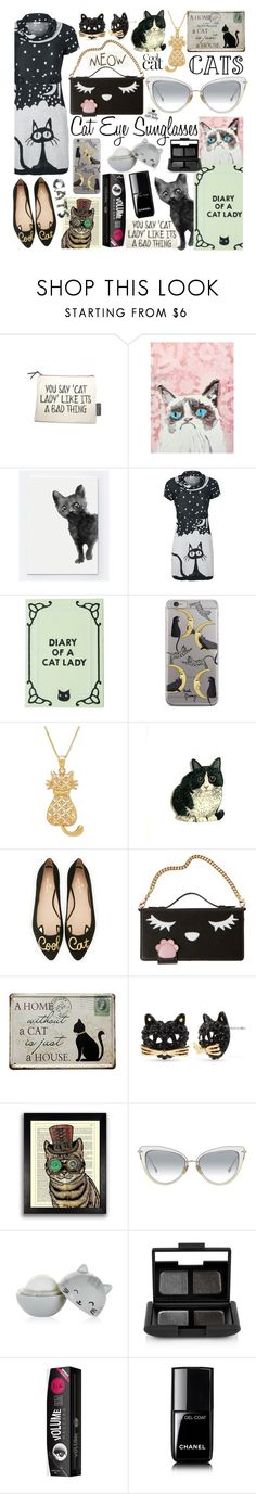 """Crazy Cat Lady Sunglasses"" by curekitty ❤ liked on Polyvore featuring Kate Spade, Betsey Johnson, NARS Cosmetics, Charlotte Russe, Chanel, meow, cats, cat, crazycatlady and kitty"