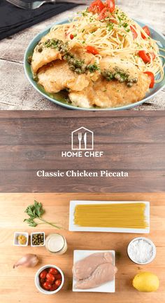 Classic Chicken Piccata with angel hair pasta and lemon-caper sauce