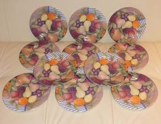 For your consideration is beautiful set of 11 bread and butter plates in the Ronde de Fruits pattern. There is only one plate that has a tiny scratch near its edge, as shown on the last photo (not a big deal). Fruit Bread, Fruit Pattern, Bread N Butter, Dessert, Salad Plates, Consideration, Pottery, Big, Beautiful