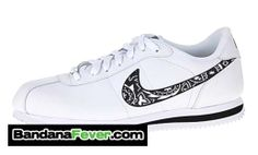"Bandana Fever - Nike ""Nike Exploded Open Futura Black Bandana"" Cortez Leather White/Black Checks by Bandana Fever, $99.99 (http://store.bandanafever.com/nike-nike-exploded-open-futura-black-bandana-cortez-leather-white-black-checks-by-bandana-fever/)"
