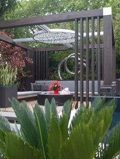 Contemporary pergola- but looks like a giant magnifying glass in the ceiling!