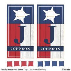 Family Name Star Texas Flag Wood Monogram Cornhole Set Custom Cornhole Boards, Cornhole Set, Wood Monogram, Monogram Initials, Cross Beam, Fun Party Games, Texas Flags, Corn Hole Game, Johnson And Johnson