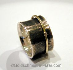Rollring Silber  Gold mit Brillant      Rolling ring silver gold and diamond
