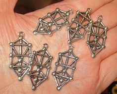 6 @ Tree of Life Kabbalah symbol silver plate pewter cast molded charms nonlead