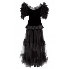 black Plain Velvet YVES SAINT LAURENT Dress - Vestiaire Collective