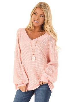 37aadc3f0dfdc Rose Pink Long Sleeve Waffle Knit V Neck Top