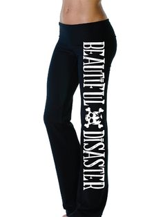 "Women's ""Gwen"" Yoga Pants by Beautiful Disaster (Black) #InkedShop #sweatpants #sweats #loungewear"