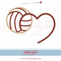 14 Volleyball : Volleyball Heart Applique 6x10