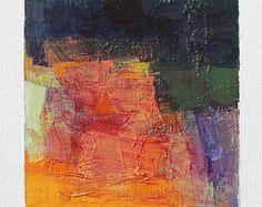 4 juillet 2017 peinture - abstrait peinture à l'huile - 9 x 9 (9 x 9 cm - environ 4 x 4 pouces) avec 8 x 10 pouces mat