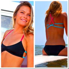Cris Cross Multi Color Bikini Top is sporty cute