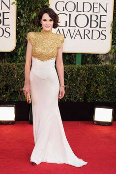 Downton Abbey's Michelle Dockery, wearing an Alexandre Vauthier gown at the 2013 Golden Globe Awards.
