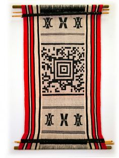 Encoded textiles: When scanned, the codes play one of a series of documentary films that help unfold the story of the Mapuche people.