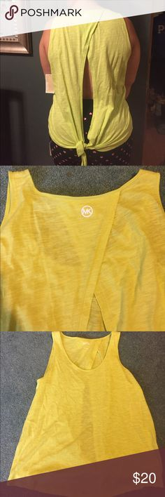 Michael Kors shirt Cut out back design. Lime green color. Would be great for working out. NWT Michael Kors Tops Muscle Tees