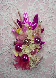 Christmas Corsage Vintage Spun Cotton Pink Angel Sparkle by meaicp