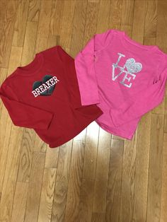 Valentine shirts for the kids.
