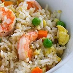 Shrimp Fried Rice Recipe - Make sure to use leftover, day old rice when making fried rice. Freshly made rice will make a fried rice that's mushy. Rice Recipes, Asian Recipes, Dinner Recipes, Cooking Recipes, Ethnic Recipes, Chinese Recipes, Kitchen Recipes, Easy Recipes, Kraft Recipes
