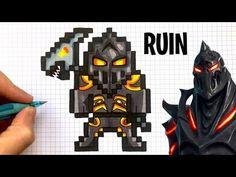 pixel art fortnite skin saison 1 Skin Poisson Rouge Fortnite Free V Buck Advert Minecraft Beads, Minecraft Crochet, Minecraft Pixel Art, Hama Beads, Video Game Crafts, Modele Pixel Art, Pixel Color, Hidden Pictures, Pokemon