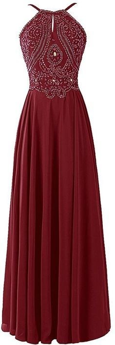 Chiffon Prom Dress Long Halter Bridesmaid Gown with Beads Burgundy Size 2