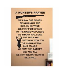 Hunting Quote wall Sign Vinyl Decal Sticker Hunters prayer We Hunt Camo deer duck rifle gun load ammo shotgun buck doe den mancave horns big by ColtonsPlace on Etsy https://www.etsy.com/listing/208830239/hunting-quote-wall-sign-vinyl-decal