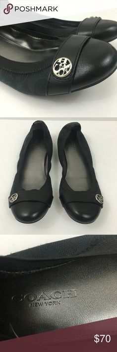 Authentic COACH size 7 Black Flats Coach flats Excellent condition Only sign of wear is on bottom of shoes Size 7M Coach Shoes Flats & Loafers