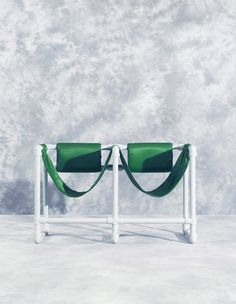 """Hej"" by Sofia Holt. Old school pattern background with green design realisator chairs."