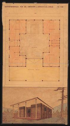Hans Poelzig / Wochenendhaus / Berlin / Charlottenburg / 1927 Space Architecture, Architecture Drawings, Residential Architecture, Hans Poelzig, Brick And Stone, Bauhaus, Design Process, Line Drawing, Berlin