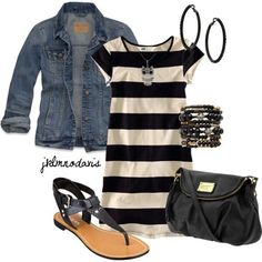 Spring outfit: black and white chunky striped dress with a denim jacket