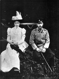 Tsar Nicholas II and Empress Alexandra- note how much he looks like his cousin, King George V of England. He was also closely related to Kaiser Wilhelm of Germany. Hard to imagine all the family connections in Europe in those days.