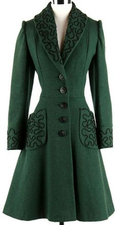 40s Green Wool Puff Sleeve Soutache Coat Jacket. 1940's coat. * Dark green wool * Soutache stitching trim * Puffy sleeves * Fit + flare cut * Button front closure * Acetate lining * Hip pockets