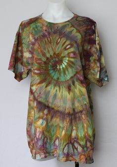 Tie Dye Men's tee shirt Unisex ice dyed  size by ASPOONFULOFCOLORS