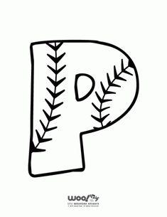 Baseball Alphabet Letter P - Woo! Spanish Alphabet Letters, Alphabet Letters To Print, Alphabet Letter Crafts, Handwriting Alphabet, Preschool Letters, Alphabet Fonts, Letter Tracing, Handwriting Worksheets, Handwriting Practice