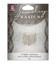 Jewelry Basics 4mmx21mm Rondelle 6/Pkg - Silver W/Crystal